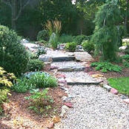 Walkways level green landscaping and design for Natural rock landscaping